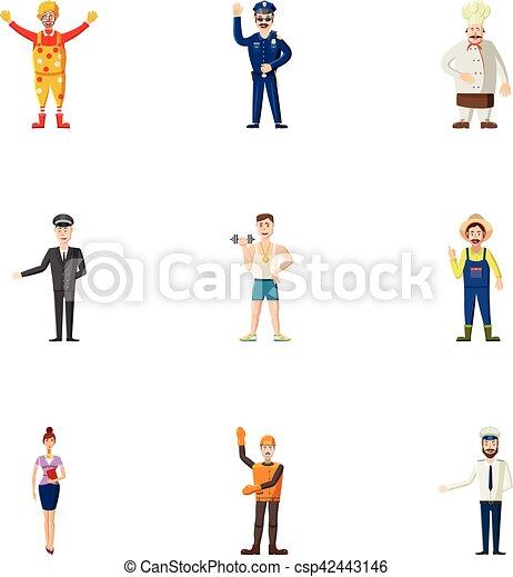 Occupation icons set, cartoon style - csp42443146