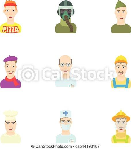 Occupation icons set, cartoon style - csp44193187