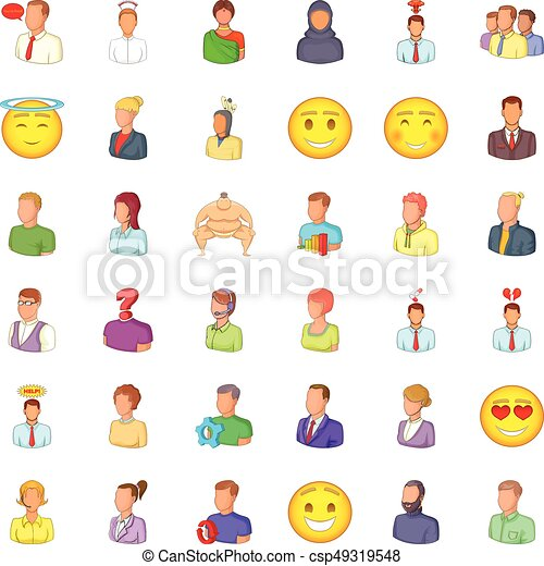 Occupation icons set, cartoon style - csp49319548
