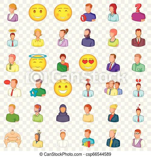 Occupation icons set, cartoon style - csp66544589