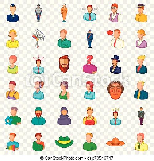 Occupation icons set, cartoon style - csp70546747
