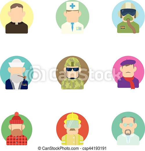 Occupation icons set, flat style - csp44193191