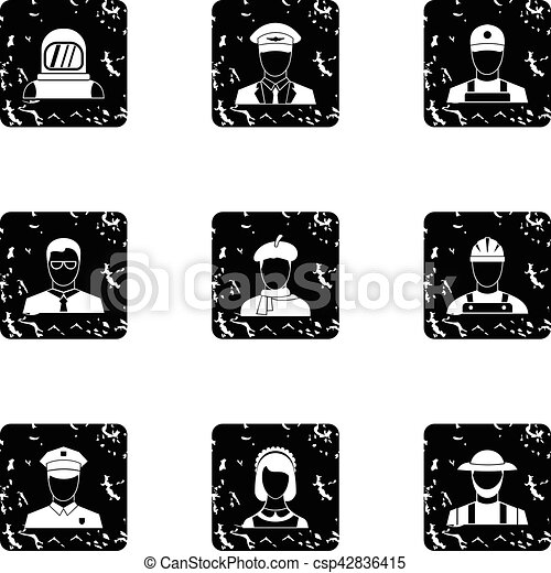 Occupation icons set, grunge style - csp42836415