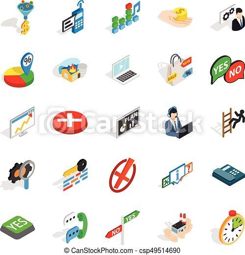 Occupation icons set, isometric style - csp49514690