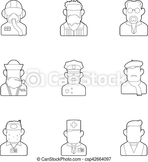 Occupation icons set, outline style - csp42664097