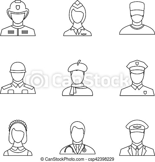 Occupation icons set, outline style - csp42398229