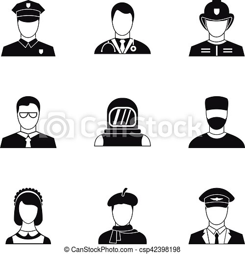 Occupation icons set, simple style - csp42398198
