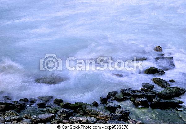 oceânicos, contorno costa, ondas - csp9533876