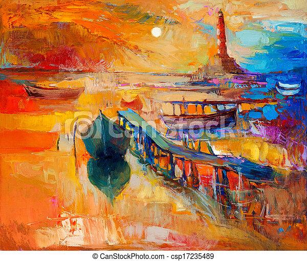 Ocean and sunset - csp17235489