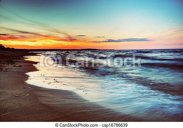 Ocean at sunset - csp16786639