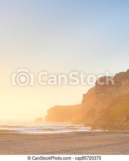 ocean beach people Nazare Portugal - csp85720375