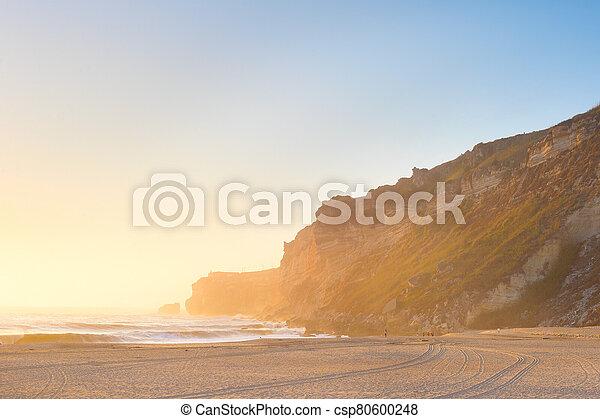 ocean beach people Nazare Portugal - csp80600248