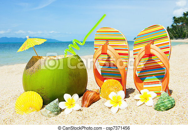 Ocean Beach with palm and exotic coctail - csp7371456