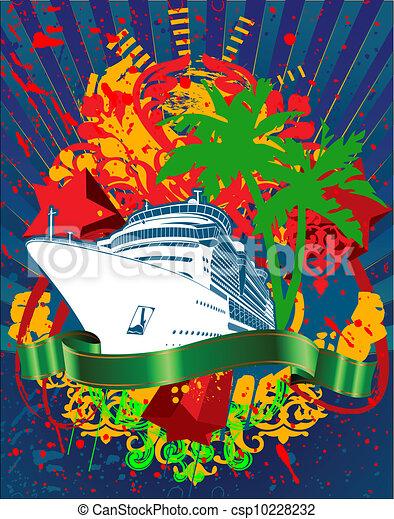 Ocean Cruise Liner Splash And Green Banner - csp10228232