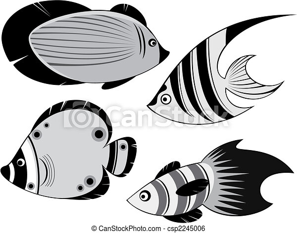 Line Art Of Fish : Four ocean fishes clip art vector search drawings and graphics