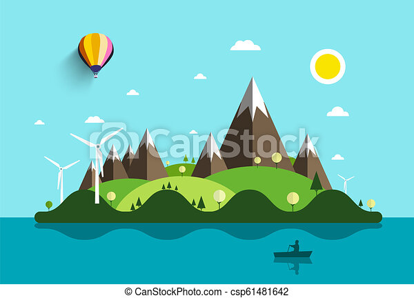 Ocean Landscape with Island and Man on Boat. Vector Flat Design Natural Scene. Summer Holidays Destination with Windmills and Mountains. - csp61481642
