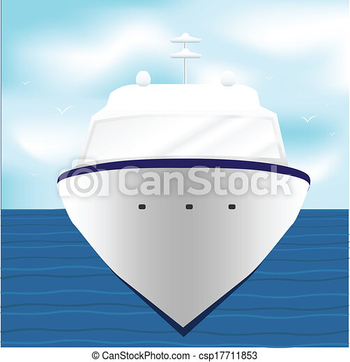 Ocean Liner Cruise Ship Boat at Sea - csp17711853