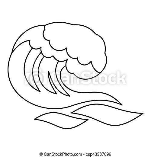 Ocean Or Sea Wave Icon Outline Style Ocean Or Sea Wave Icon