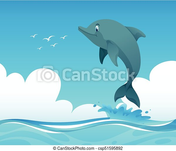 Ocean scene with dolphin jumping up illustration eps vectors ocean scene with dolphin jumping up vector voltagebd Gallery