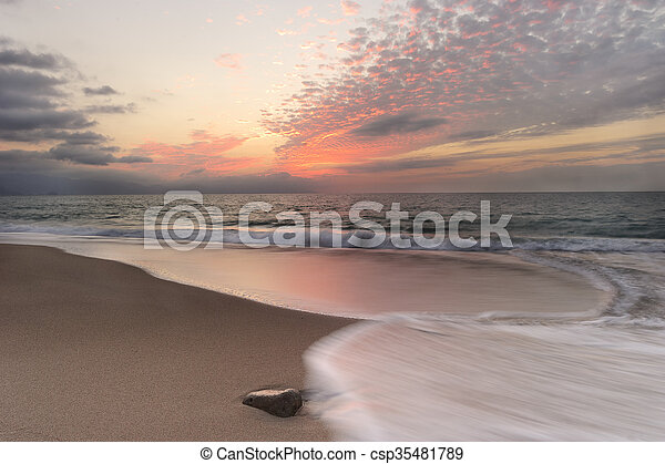 Ocean Sunset Beach Waves - csp35481789