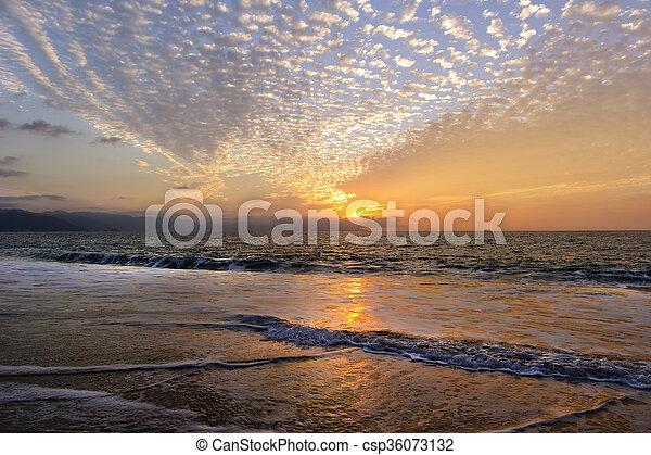 Ocean Sunset Beach Waves - csp36073132
