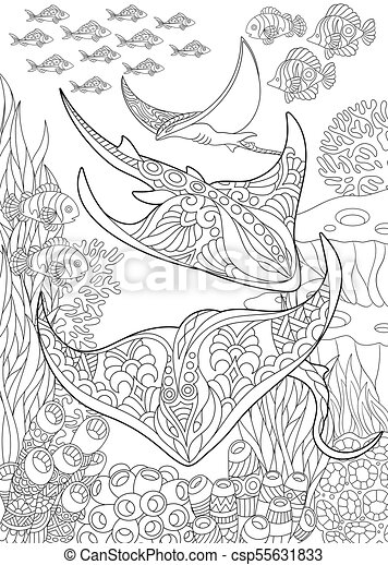 Ocean Underwater Background With Stingray Coloring Page For Adult