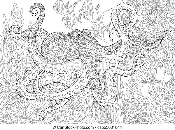 Ocean Underwater Background With Octopus Coloring Page For Adult Colouring Book Underwater Background With Octopus