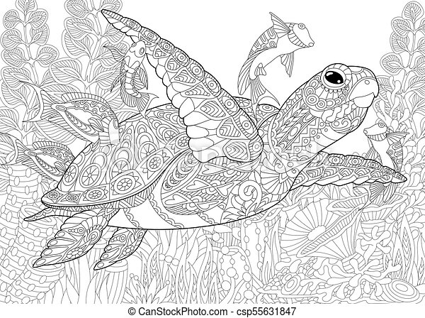 Ocean underwater background with turtle. Coloring page for ...