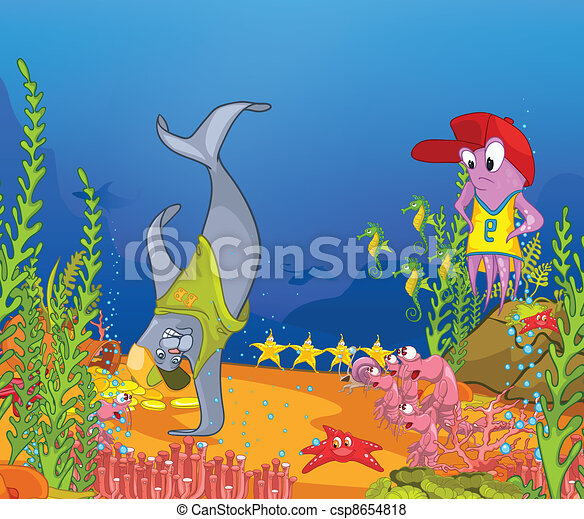ocean underwater world cartoon coral reef with alga and fish vector