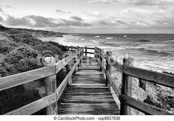 Ocean View From Beachside Walkway In Black And White Australian