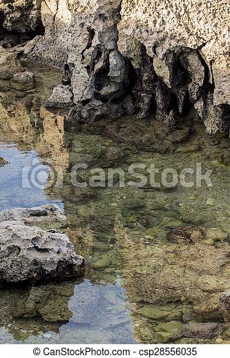 ocean water creating pools of water between tides - csp28556035