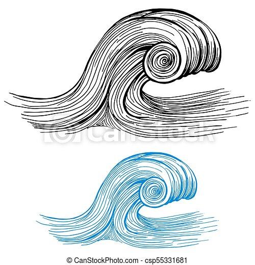 Ocean Wave Drawing Design Element