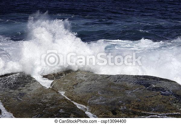 ocean waves crashing on rocks - csp13094400