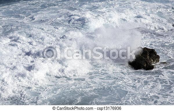 ocean waves crashing on rocks - csp13176936