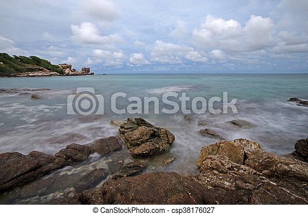 ocean waves crashing rocks - csp38176027