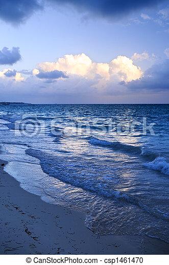 Ocean waves on beach at dusk - csp1461470