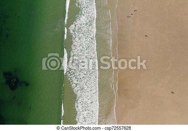 ocean waves, sandy beach, view from drone, Carnota beach, Galicia, Spain - csp72557628
