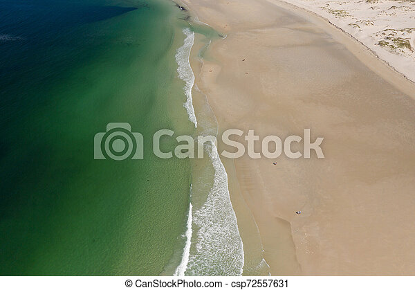 ocean waves, sandy beach, view from drone, Carnota beach, Galicia, Spain - csp72557631
