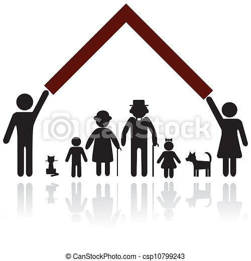 ochrona, sylwetka, rodzina, ludzie - csp10799243