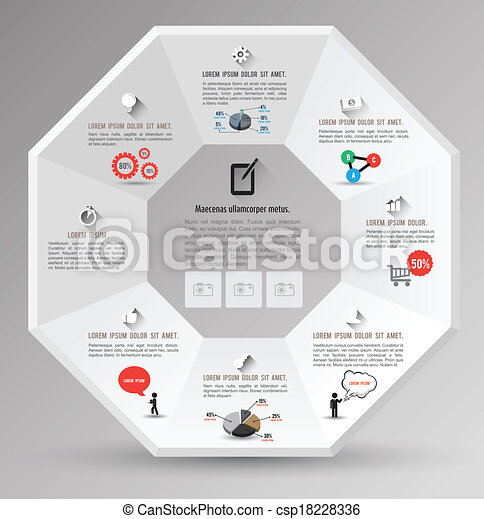 octagon template with icons for business concept or education diagram