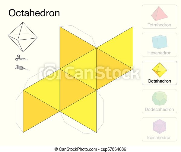 Octahedron platonic solid template paper model. Octahedron platonic ...
