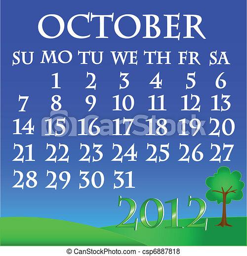 October 2012 landscape calendar - csp6887818
