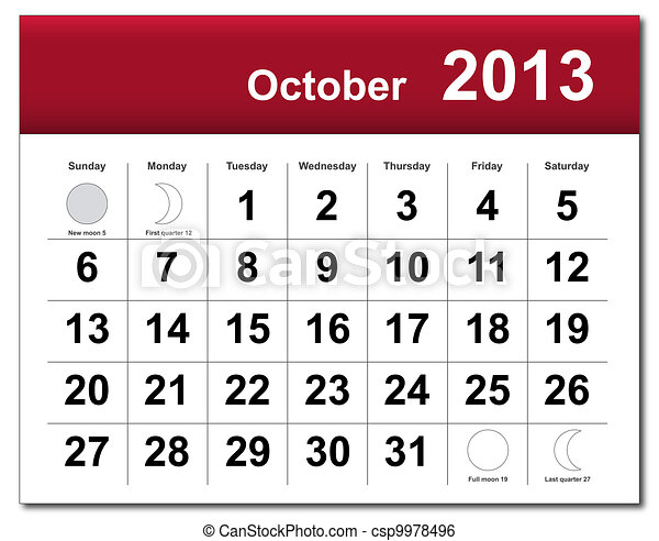 October 2013 calendar - csp9978496