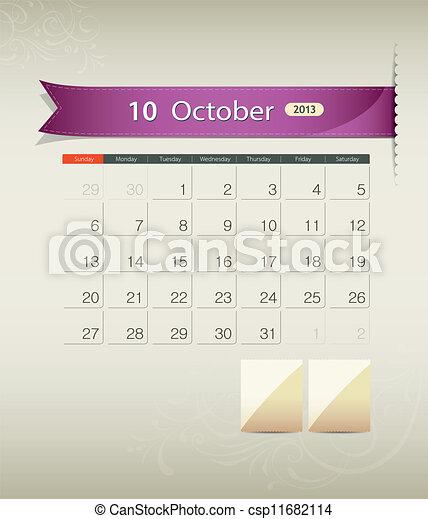October 2013 calendar ribbon - csp11682114