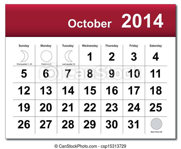 October 2014 calendar - csp15313729