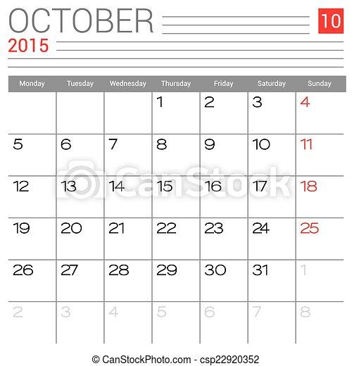 October 2015 Calendar Vector Design Template Simple Blank Calendar