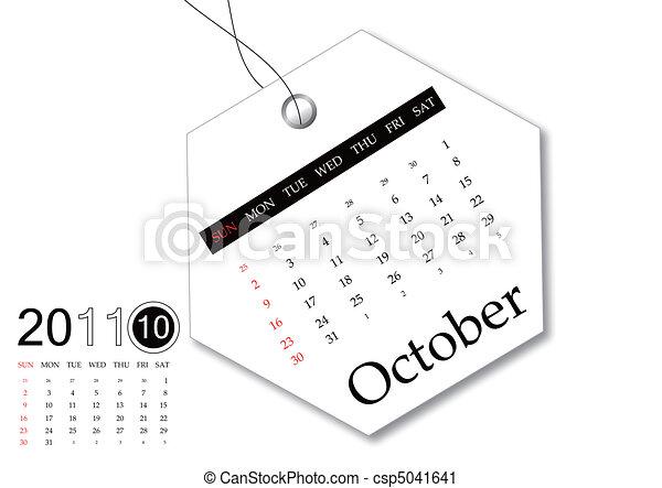 October of 2011 calendar - csp5041641