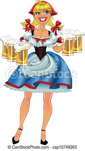 Octoberfest blond girl with beer - csp10749263
