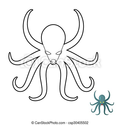 Octopus coloring book. cthulhu, kraken underwater angry clam. vector ...