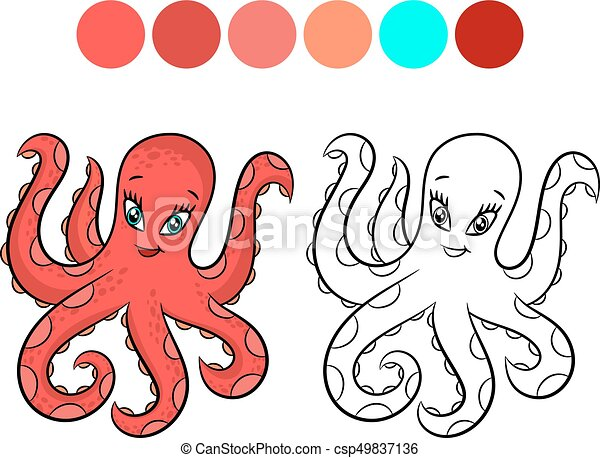 Octopus coloring book. Octopus. coloring book design for... vectors ...
